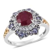 Niassa Ruby, Tanzanite, White Topaz 14K YG and Platinum Over Sterling Silver Ring (Size 9.0) TGW 4.060 cts.