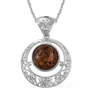 KARIS Collection - Indian Script Stone Platinum Bond Brass Solitaire Pendant With Stainless Steel Chain (20 in) TGW 5.90 cts.