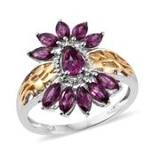 Purple Garnet 14K YG and Platinum Over Sterling Silver Ring (Size 8.0) TGW 2.58 cts.