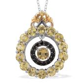 Marialite, Thai Black Spinel 14K YG and Platinum Over Sterling Silver Pendant With Chain (20 in) TGW 2.67 cts.