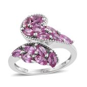 Niassa Pink Sapphire Platinum Over Sterling Silver Bypass Ring (Size 7.0) TGW 2.570 cts.