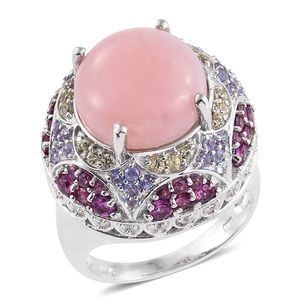 Peruvian Pink Opal, Multi Gemstone Platinum Over Sterling Silver Statement Ring (Size 10.0) TGW 11.92 cts.