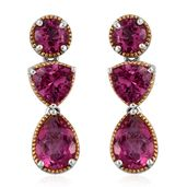 Pure Pink Mystic Topaz 14K YG and Platinum Over Sterling Silver Earrings TGW 9.78 cts.