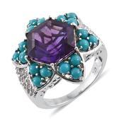 Lusaka Amethyst, Arizona Sleeping Beauty Turquoise, White Topaz Platinum Over Sterling Silver Ring (Size 9.0) TGW 8.730 cts.
