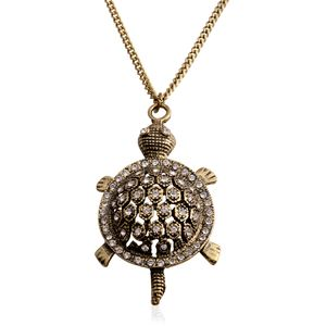 Austrian Crystal Goldtone Turtle Pendant With Curb Chain (28 in)