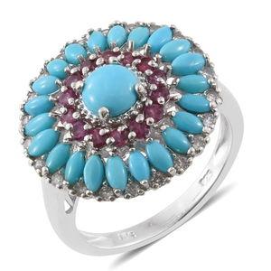 Arizona Sleeping Beauty Turquoise, Orissa Rhodolite Garnet, Cambodian Zircon Platinum Over Sterling Silver Ring (Size 10.0) TGW 3.82 cts.
