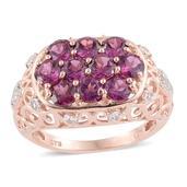 Purple Garnet, White Topaz 14K RG Over Sterling Silver Openwork Ring (Size 9.0) TGW 3.97 cts.