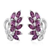 Purple Garnet Platinum Over Sterling Silver Earrings TGW 1.400 Cts.