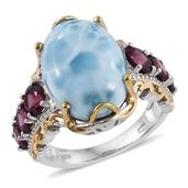 Larimar, Orissa Rhodolite Garnet 14K YG and Platinum Over Sterling Silver Ring (Size 6.0) TGW 16.12 cts.