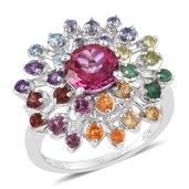 Pure Pink Mystic Topaz, Multi Gemstone Platinum Over Sterling Silver Ring (Size 7.0) TGW 4.05 cts.