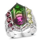 Watermelon Quartz, Multi Gemstone 14K YG and Platinum Over Sterling Silver Ring (Size 6.0) TGW 16.86 cts.
