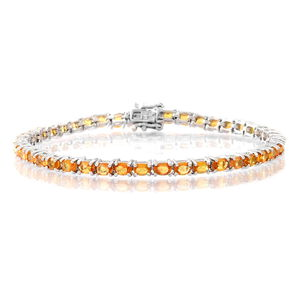 TLV Yellow Sapphire Sterling Silver Tennis Bracelet (6.50 In) TGW 7.030 cts.