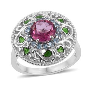 Pure Pink Mystic Topaz, Electric Blue Topaz, Enameled Platinum Over Sterling Silver Openwork Ring (Size 9.0) TGW 2.95 cts.