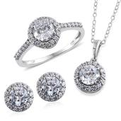 J Francis - Platinum Over Sterling Silver Stud Earrings, Ring (Size 5) and Pendant With Chain (20 in) Made with SWAROVSKI ZIRCONIA TGW 9.120 cts.