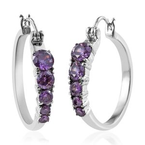 Simulated Purple Diamond Stainless Steel Hoop Earrings TGW 5.860 Cts.