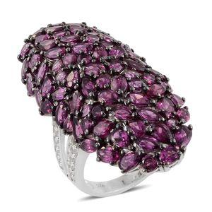 Blooming Desire Orissa Rhodolite Garnet, White Topaz Platinum Over Sterling Silver Love Basket Elongated Split Ring (Size 6.0) TGW 15.968 cts.