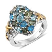 Multi Color Apatite 14K YG and Platinum Over Sterling Silver Openwork Ring (Size 5.0) TGW 3.53 cts.