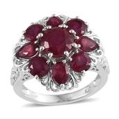 Niassa Ruby Platinum Over Sterling Silver Ring (Size 8.0) TGW 8.10 cts.