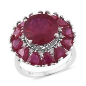 Niassa Ruby, Cambodian Zircon Platinum Over Sterling Silver Statement Ring (Size 6.0) TGW 15.20 cts.