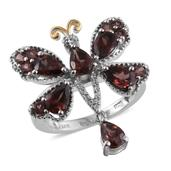 Red Zircon, White Zircon 14K YG and Platinum Over Sterling Silver Butterfly Ring (Size 5.0) TGW 4.600 cts.
