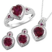 Lab Created Ruby Platinum Over Sterling Silver Earrings, Ring (Size 10) and Pendant With Stainless Steel Chain (20 in) TGW 8.320 Cts.
