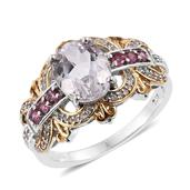 Urukun Kunzite, Pink Tourmaline, White Zircon 14K YG and Platinum Over Sterling Silver Ring (Size 6.0) TGW 3.890 cts.