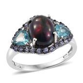 Ethiopian Sable Welo Opal, Madagascar Paraiba Apatite, Tanzanite Platinum Over Sterling Silver Ring (Size 7.0) TGW 4.90 cts.