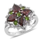 Red Zircon, Russian Diopside, White Zircon Platinum Over Sterling Silver Ring (Size 5.0) TGW 4.850 cts.