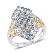 Espirito Santo Aquamarine, Cambodian Zircon 14K YG and Platinum Over Sterling Silver Ring (Size 6.0) TGW 2.17 cts.