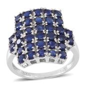 Kanchanaburi Blue Sapphire Sterling Silver Cluster Ring (Size 10.0) TGW 5.10 cts.