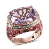 GP Rose De France Amethyst, Russian Diopside, Kanchanaburi Blue Sapphire 14K RG Over Sterling Silver Ring (Size 10.0) TGW 10.48 cts.