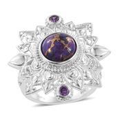KARIS Collection - Mojave Purple Turquoise, Simulated Blue Diamond Platinum Bond Brass Ring (Size 10.0) TGW 4.670 cts.