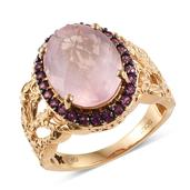 GP Galilea Rose Quartz, Orissa Rhodolite Garnet 14K YG Over Sterling Silver Ring (Size 7.0) TGW 9.150 cts.