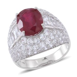 Niassa Ruby, White Topaz Sterling Silver Statement Ring (Size 9.0) TGW 11.15 cts.