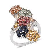 Multi Sapphire, White Zircon 14K YG and Platinum Over Sterling Silver Elongated Floral Bypass Ring (Size 5.0) TGW 6.09 cts.