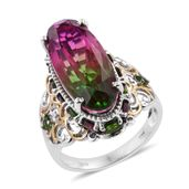 Watermelon Quartz, Orissa Rhodolite Garnet, Russian Diopside 14K YG and Platinum Over Sterling Silver Elongated Ring (Size 7.0) TGW 17.25 cts.