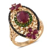GP Niassa Ruby, Multi Gemstone 14K YG Over Sterling Silver Openwork Elongated Ring (Size 10.0) TGW 7.34 cts.