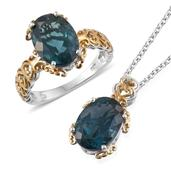 Blue Fluorite 14K YG and Platinum Over Sterling Silver Ring (Size 11) and Pendant With Chain (20 in) TGW 13.440 cts.