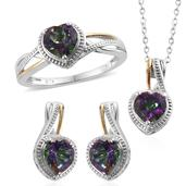 Northern Lights Mystic Topaz 14K YG and Platinum Over Sterling Silver Ring (Size 9), Earrings and Pendant With Chain (20 in) TGW 5.750 cts.