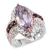 Rose De France Amethyst, Orissa Rhodolite Garnet 14K RG and Platinum Over Sterling Silver Ring (Size 9.0) TGW 8.570 cts.