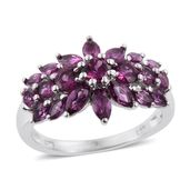 Purple Garnet Platinum Over Sterling Silver Ring (Size 5.0) TGW 3.28 cts.