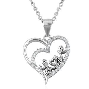 Simulated White Diamond Sterling Silver Heart LOVE Pendant With Stainless Steel Chain (20 in) TGW 0.15 cts.