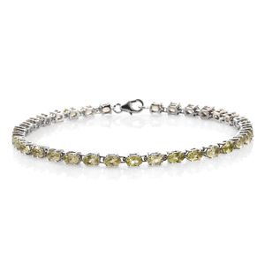 Madagascar Yellow Apatite Platinum Over Sterling Silver Tennis Bracelet (8.00 In) TGW 7.89 cts.