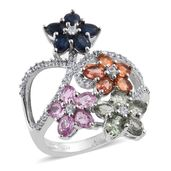 Multi Sapphire, White Zircon Platinum Over Sterling Silver Openwork Floral Elongated Ring (Size 5.0) TGW 5.50 cts.