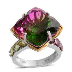 Watermelon Quartz, Orissa Rhodolite Garnet, Hebei Peridot 14K YG and Platinum Over Sterling Silver Semi-Mount Ring (Size 9.0) TGW 14.07 cts.