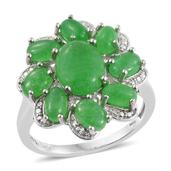 Burmese Green Jade Platinum Over Sterling Silver Ring (Size 10.0) TGW 9.050 cts.