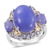 Burmese Purple Jade, Tanzanite 14K YG and Platinum Over Sterling Silver Ring (Size 7.0) TGW 14.855 cts.