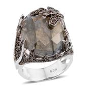 Malagasy Labradorite, Thai Black Spinel, Mozambique Garnet Sterling Silver Ring (Size 7.0) TGW 15.630 cts.