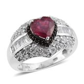 Niassa Ruby, White Topaz, Thai Black Spinel Platinum Over Sterling Silver Ring (Size 10.0) TGW 5.16 cts.