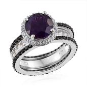 Lusaka Amethyst, Thai Black Spinel, White Topaz Platinum Over Sterling Silver Stackable Ring (Size 10.0) TGW 6.37 cts.
